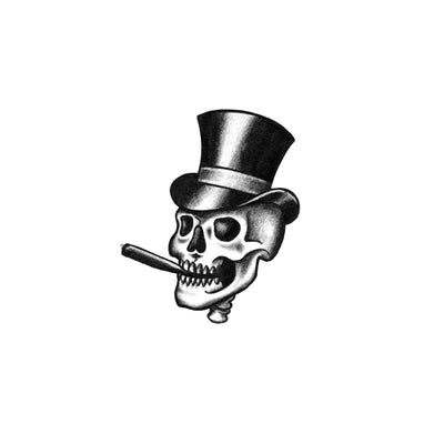 top hat skull tattoo design