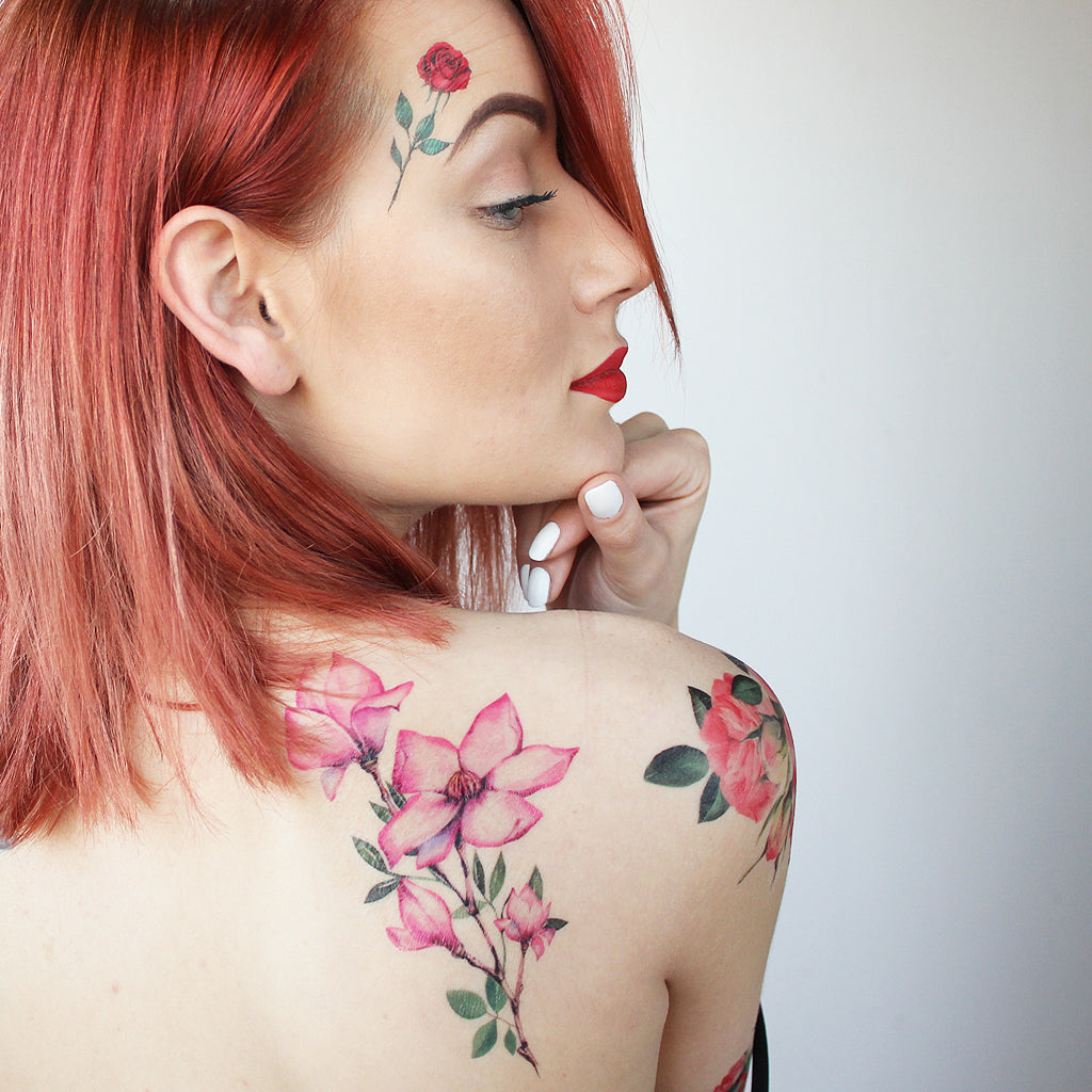 girl with magnolia tattoo