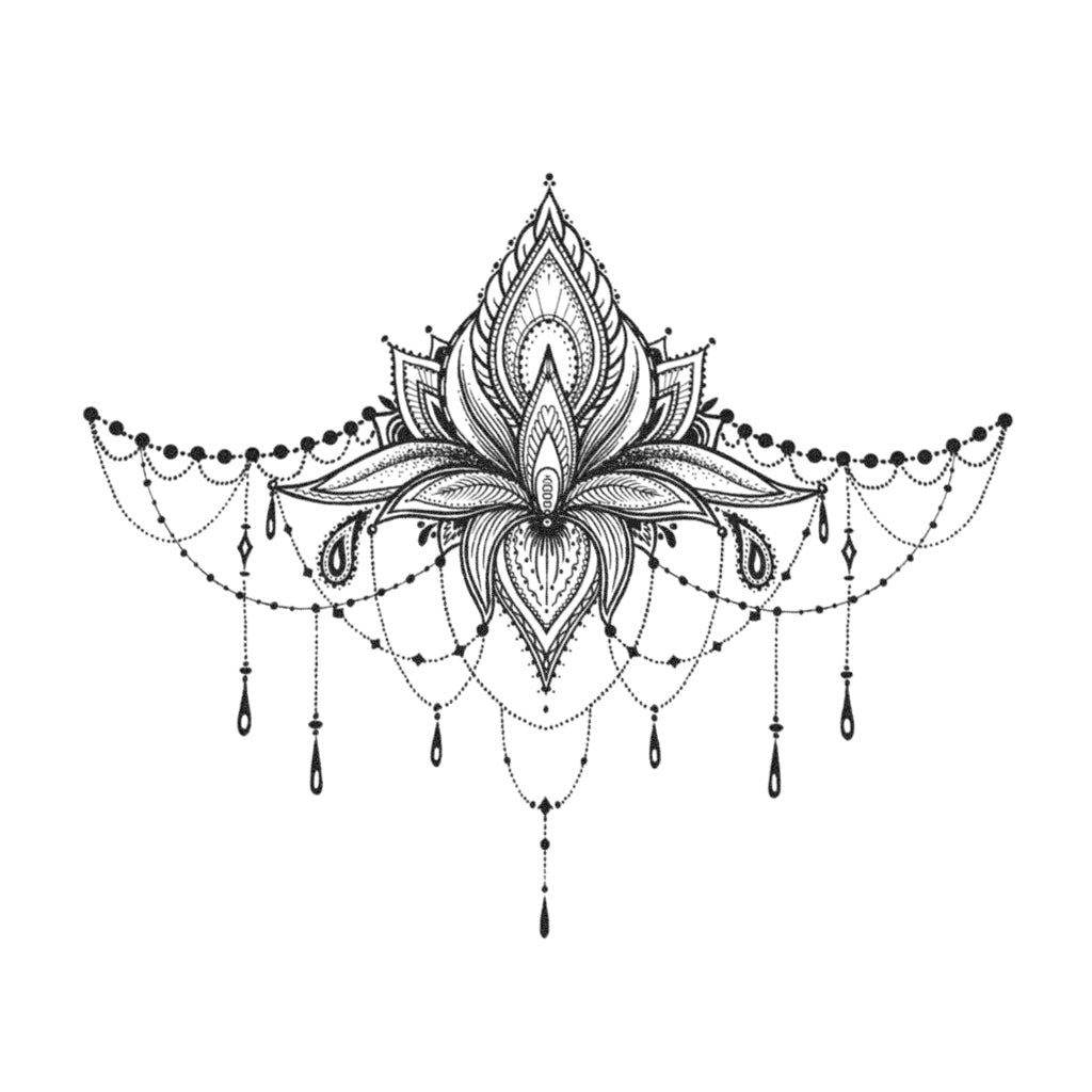 lotus underboob temporary tattoo