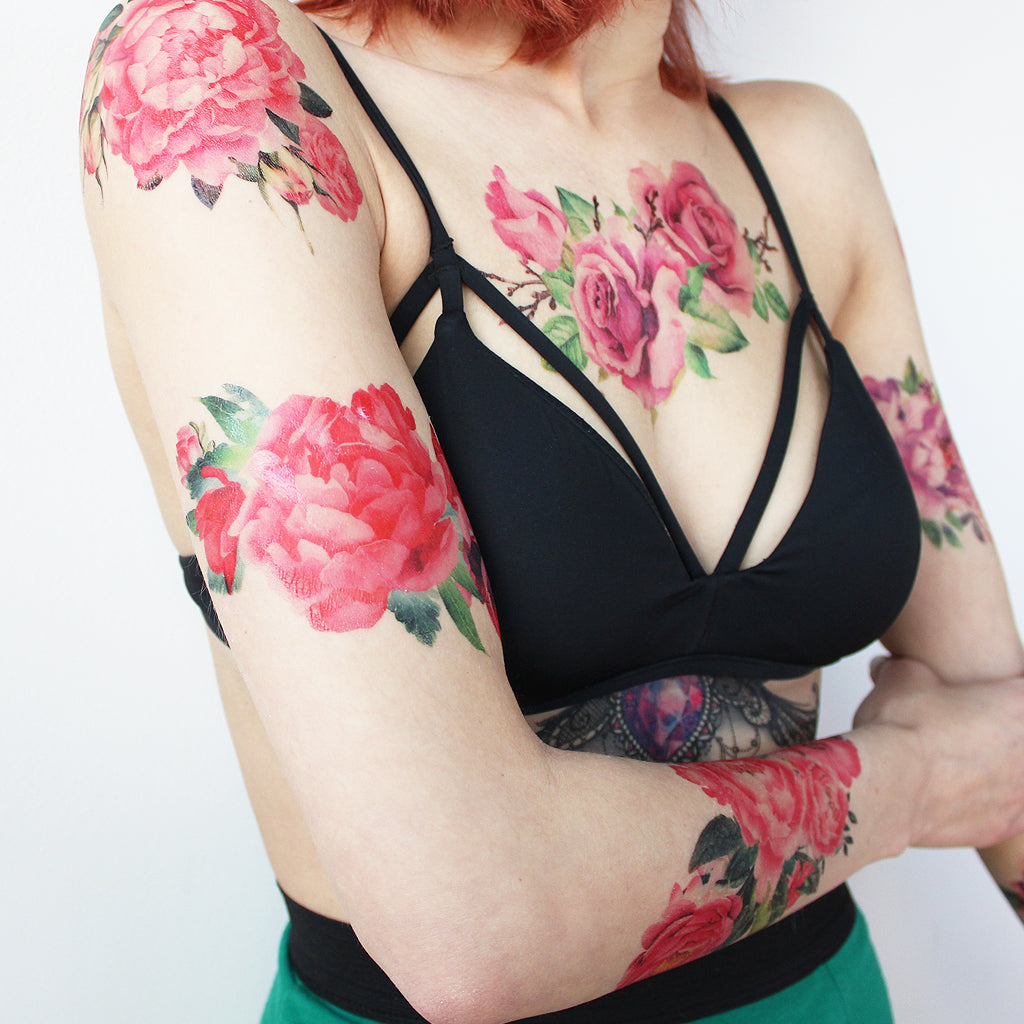 red flowers watercolor tattoo