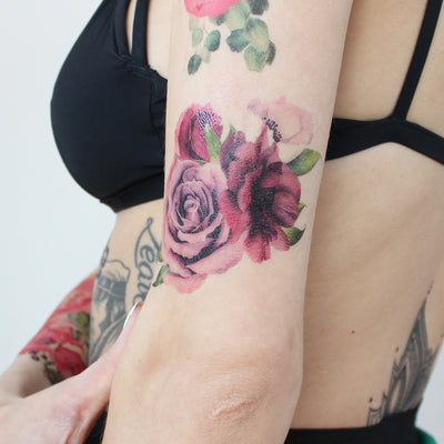 roses watercolor tattoo