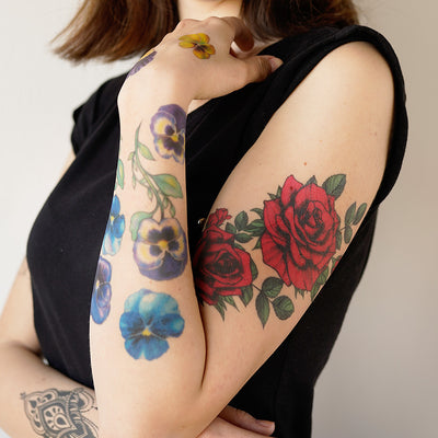 vintage red roses tattoo