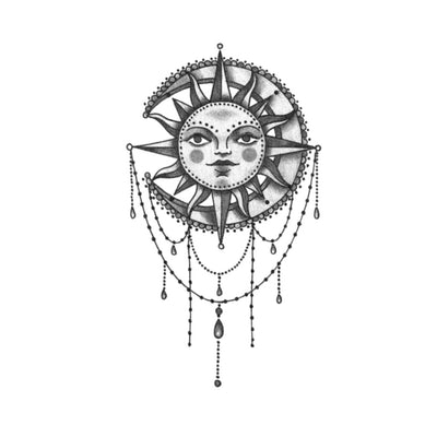 sun moon mandala tattoo design
