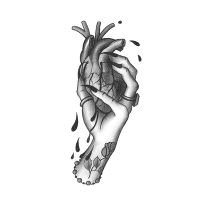 crushed heart tattoo