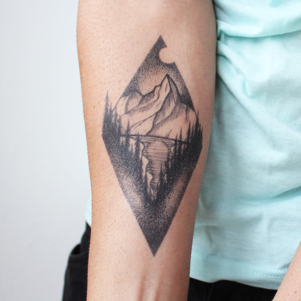 hipster triangle scenery tattoo