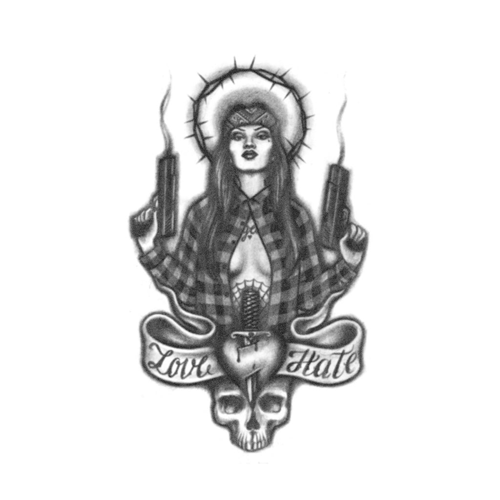 chola with guns tattoo