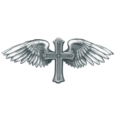 winged cross temporary tattoo