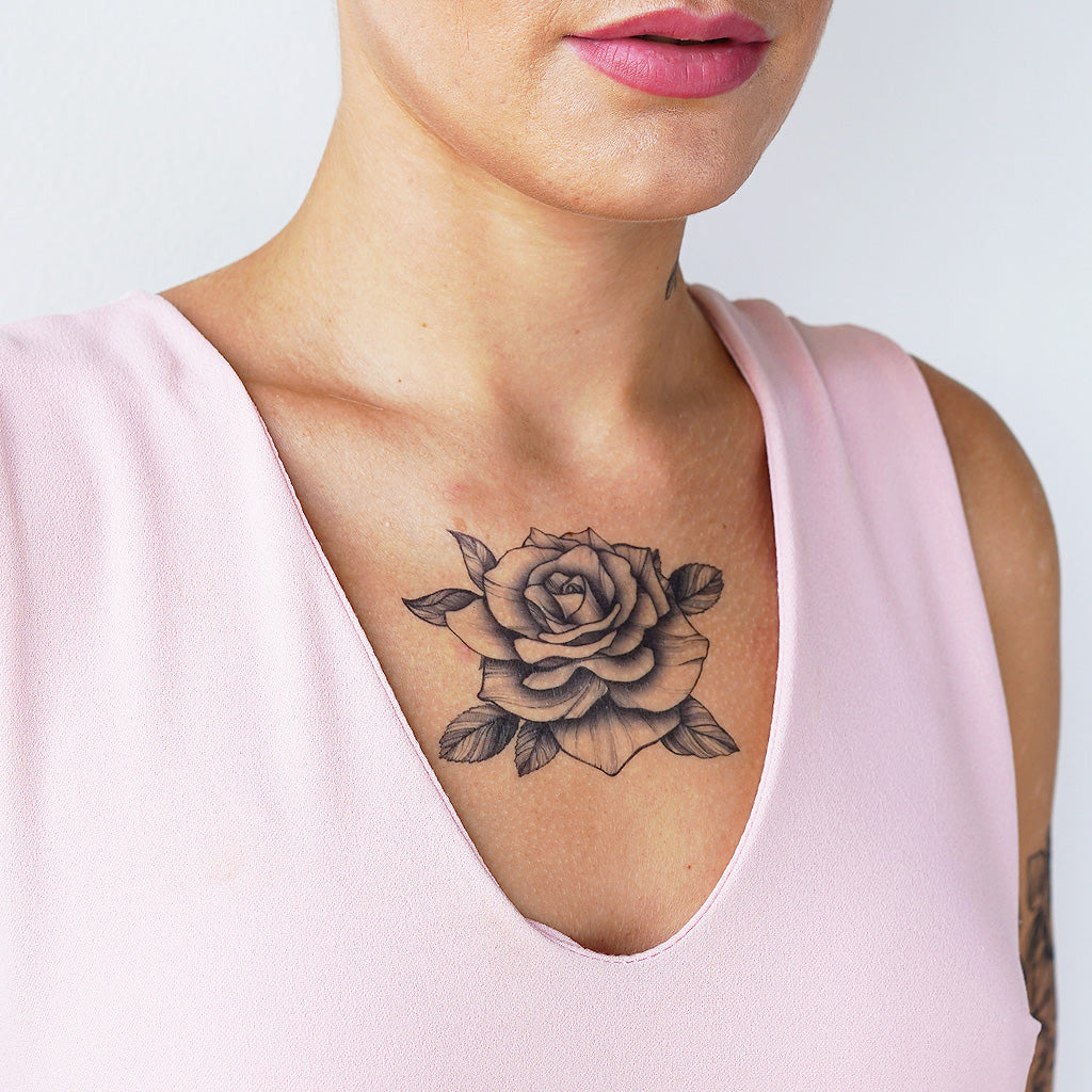 black rose temporary tattoo