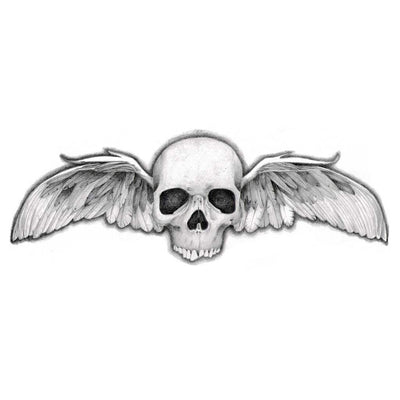 skull with wings temporary tattoo