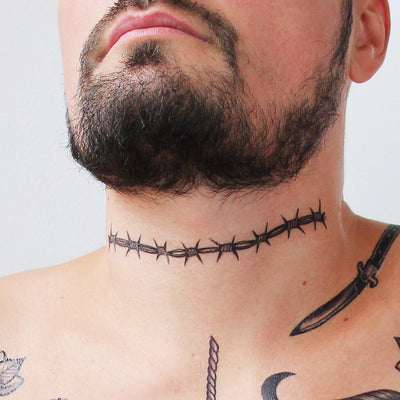 neck barbwire tattoo