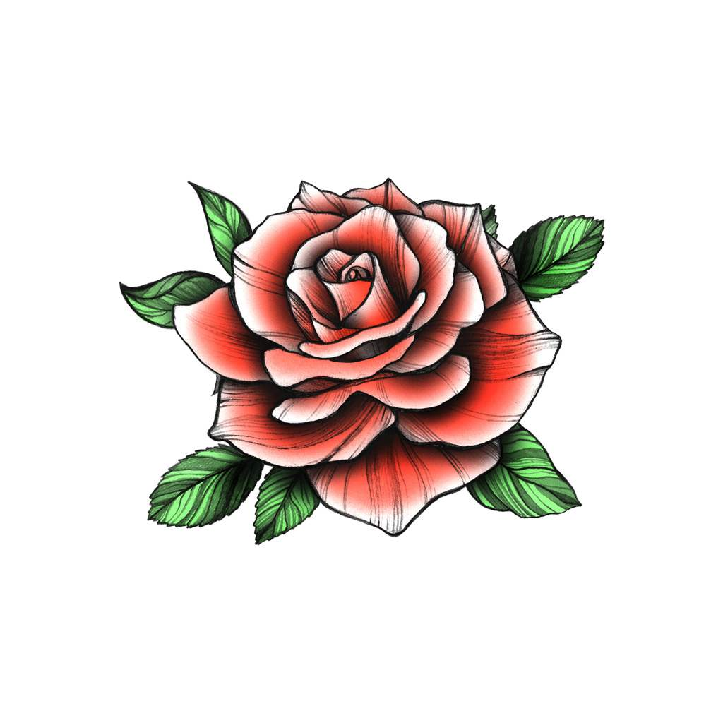 red rose temporary tattoo