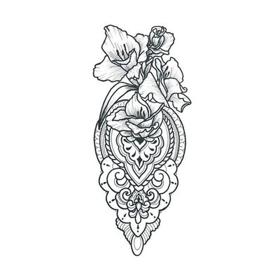 floral mandala temporary tattoo