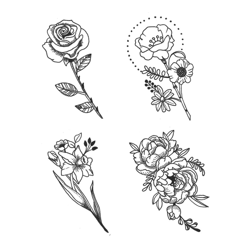 Flower Tattoos Tattoos Floral: Dainty Flower Set (Set Of 4)