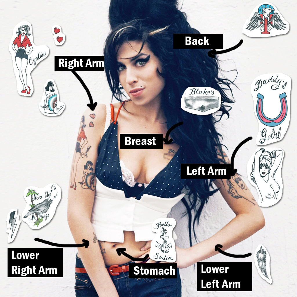 amy winehouse tattoo placement