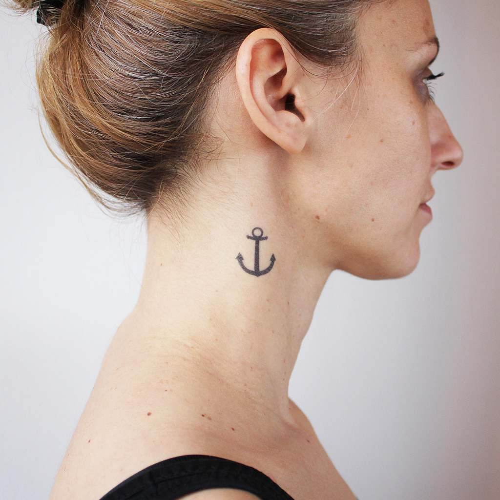 anchor neck tattoo