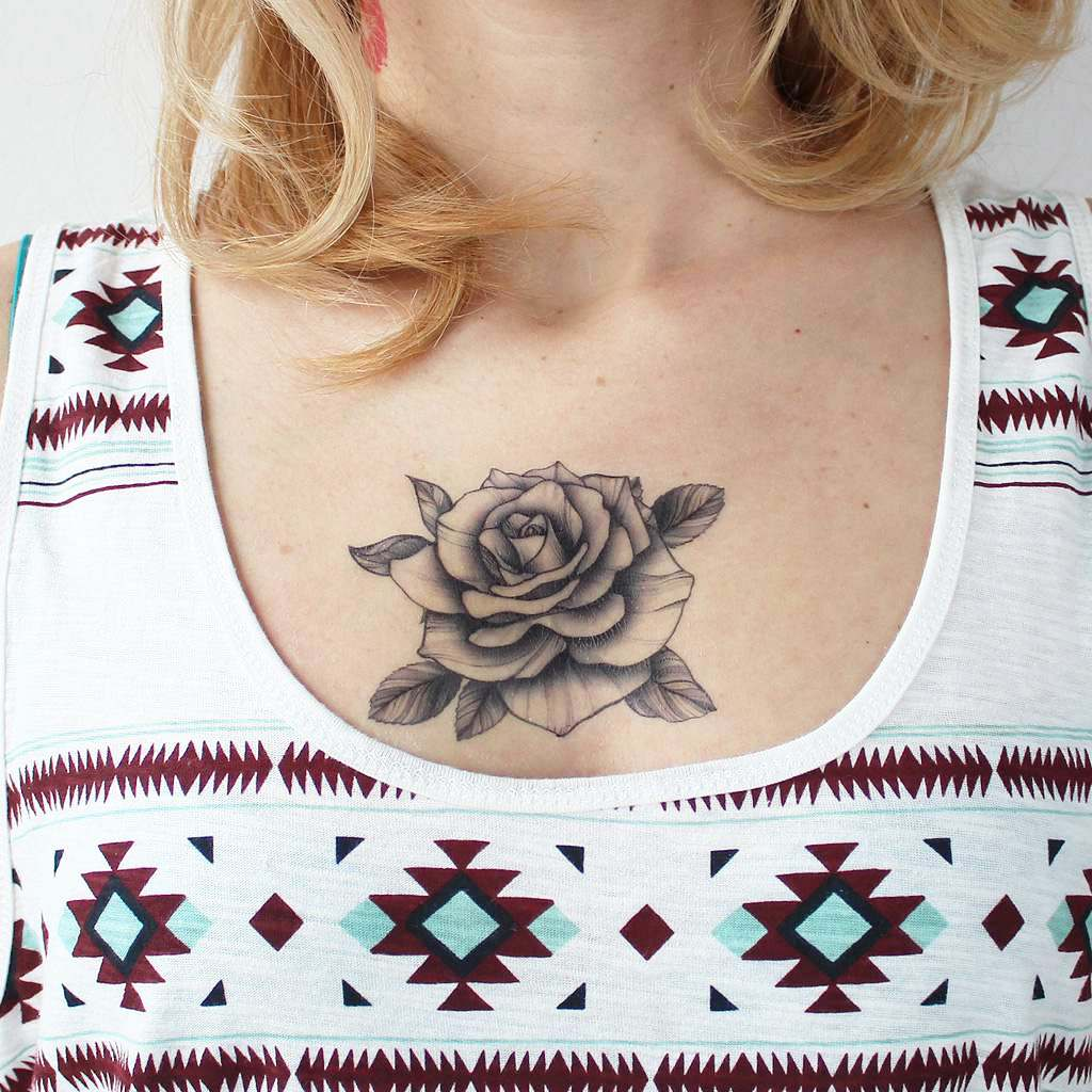 black rose vintage tattoo