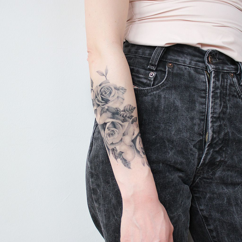 roses bouquet temporary tattoo