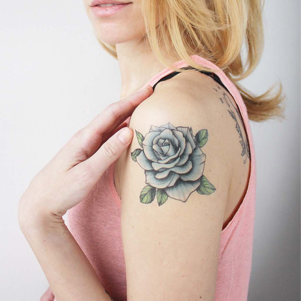 traditional blue rose temporary tattoo