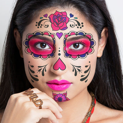 sugar skull colorful temporary tattoos