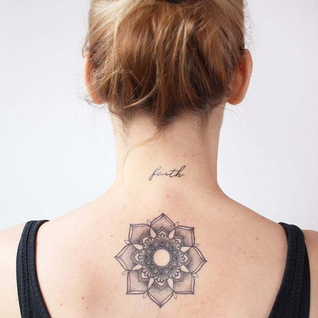 mandala floral back tattoo
