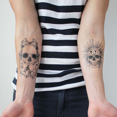 two skull temporary tattoos