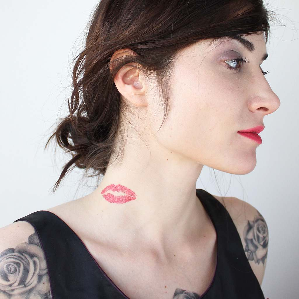 lip temporary tattoo