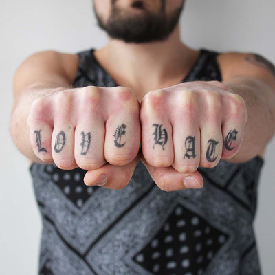 love hate knuckles tattoo