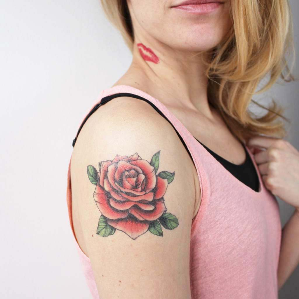 red vintage rose tattoo
