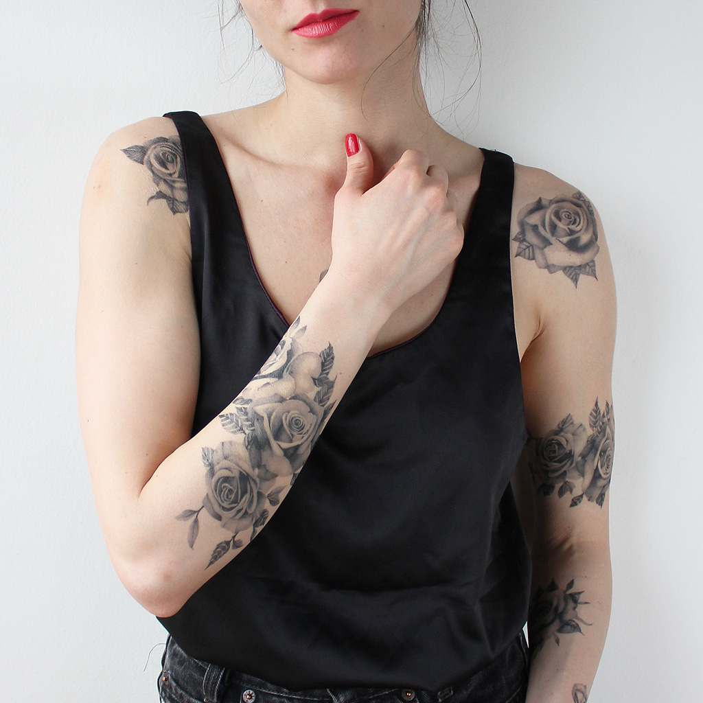 realistic roses temporary tattoos