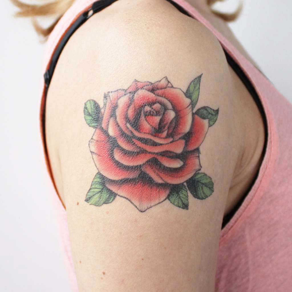 traditional red rose temporary tattoo