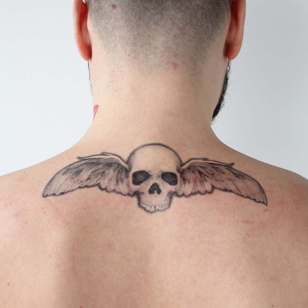 winged skull temporary tattoo
