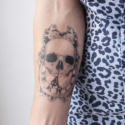 clock skull temporary tattoo