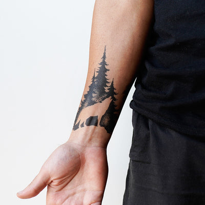 negative space wolf tattoo