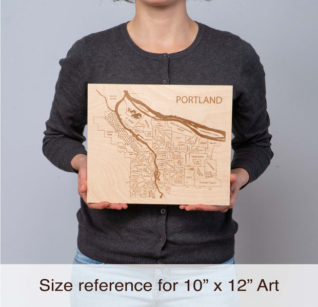 Wood Art 5 Custom Anniversary Gift - Etched Atlas