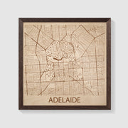Adelaide Map - 12x12-Framed- Etched Atlas