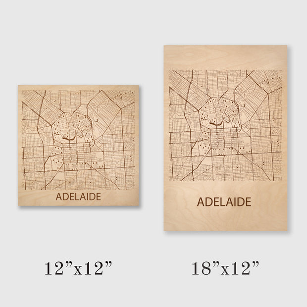 Adelaide Map - 12x12-Unframed- Etched Atlas