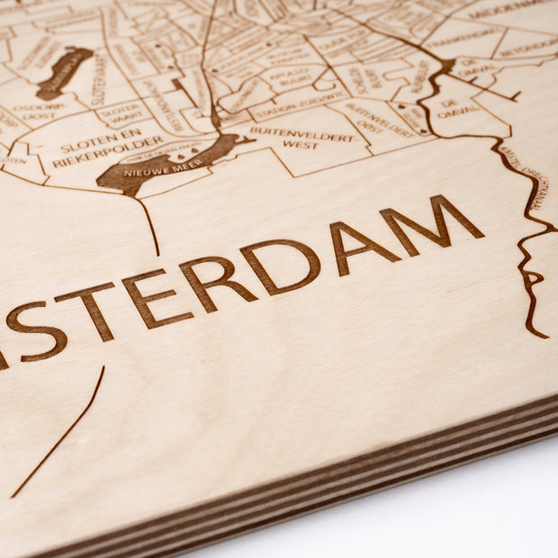 Amsterdam Engraved Wood Map - Etched Atlas