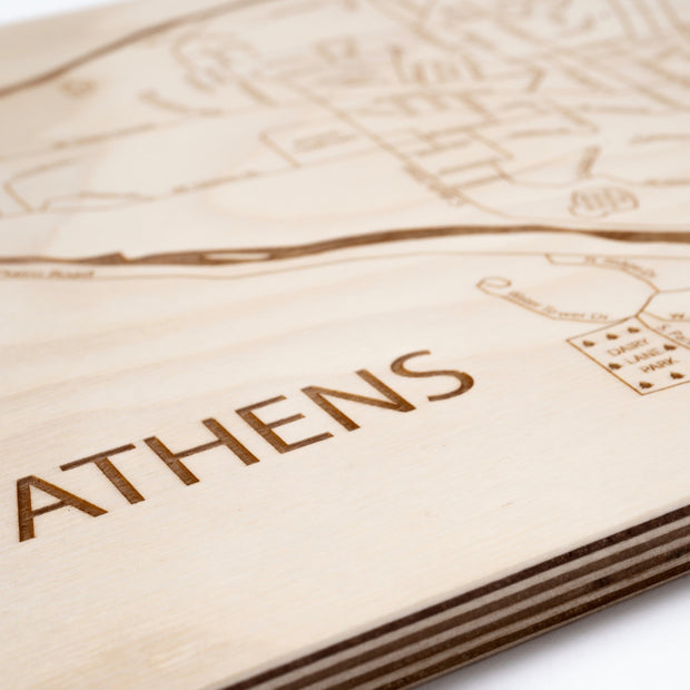 Athens Engraved Wood Map - Etched Atlas