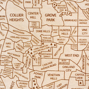 Atlanta Engraved Wood Map - Etched Atlas