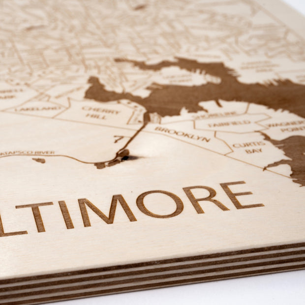 Baltimore Engraved Wood Map - Etched Atlas