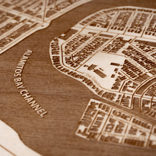 Belmont Shore Engraved Wood Map - Etched Atlas