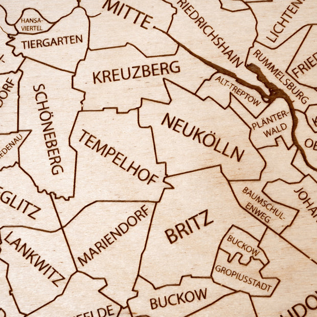 Berlin Engraved Wood Map - Etched Atlas