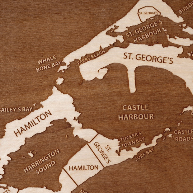 Bermuda Engraved Wood Map - Etched Atlas