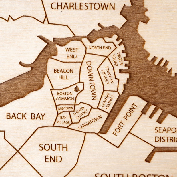 Boston Engraved Wood Map - Etched Atlas