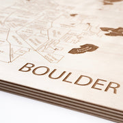 Boulder Engraved Wood Map - Etched Atlas