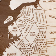 Brooklyn Engraved Wood Map - Etched Atlas