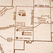 Broomfield Engraved Wood Map - Etched Atlas