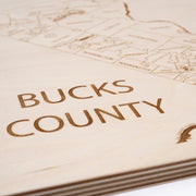 Bucks County Engraved Wood Map - Etched Atlas
