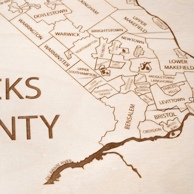 Bucks County Closing Housewarming Gift - Etched Atlas