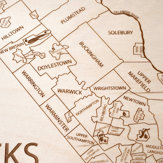 Bucks County Custom Map Gift - Etched Atlas